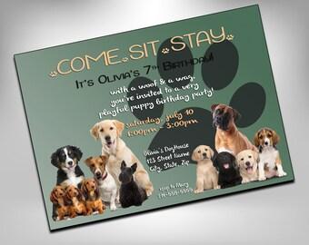 Dog Birthday, Dog Birthday Party, Dog Party, Invitation, Puppy Birthday, Dog, Birthday Invites, Pawty, Puppy party, Dog Party Invite, Dogs