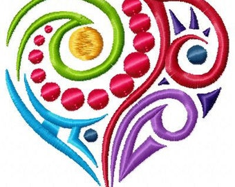 Abstract Heart Machine Embroidery Design Single