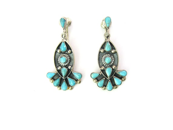 Vintage Taxco Southwestern Zuni Style Sterling Silver Turquoise Earrings