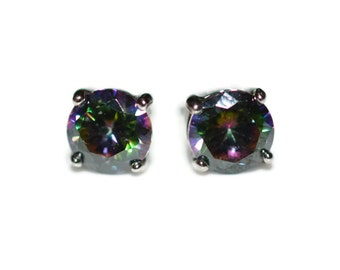 6mm Round Rainbow Topaz Stud Earrings, Cubic Zirconia CZ Sterling Silver Stud Earrings in Prong Setting - Mystic Topaz CZ Posts