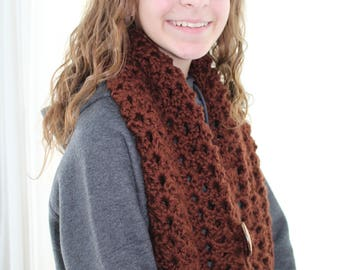 Crochet Scarf, Crochet Infinity Scarf, Hand Crochet Cowl, Crochet Cowl Scarf,  Handmade Cowl Wrap, Warm Cowl Scarf, Size - Teen/Adult