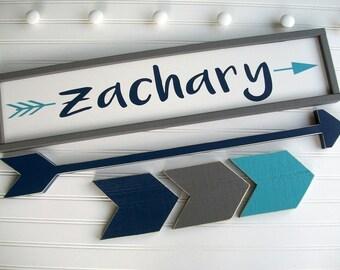 Large Name Sign Set . Big Boy Room . Toddler Room . Woodland Nursery . Custom Baby Name Sign . Long Arrow . Chevrons . Name Sign . Adventure