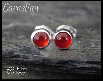 Red carnelian earrings, 5mm gemstone cabochon, sterling silver bezel, second earrings, stud earrings, ready to ship. 130