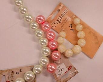 Perles de verre et perles de coquillage - 3 rangs de perles et perles - Perles neuf, jamais été-utilisé