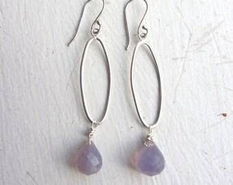 Purple Drop Earrings, Lavender Chalcedony Earrings, Lavender Gemstones, Sterling Silver Earrings, Valentines Gift, Beach Gift