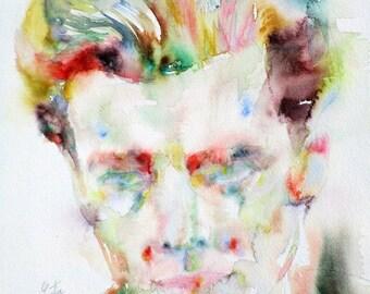 ALDOUS HUXLEY - original watercolor portrait - one of a kind!