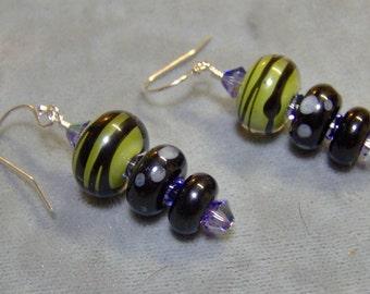Lampwork Beaded Earrings-Artisan Lampwork and Sterling Silver Earrings-Halloween Earrings-Dark Glamor Earrings- SRAJD