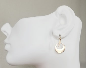 Gold Washer Earrings, Shiny Off-Center Hoop Gold Earrings, 14K Gold Filled Earrings, Gold Circle Earrings, Everyday Gold Washer Earrings