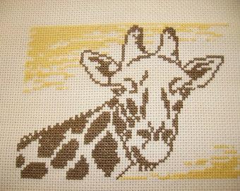 giraffe embroidered cross stitch