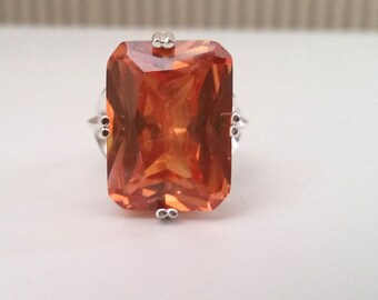Stunning 20x15 Cocktail Statement Ring Emerald cut CZ Champagne and 925 Sterling Silver Ring Sz 7