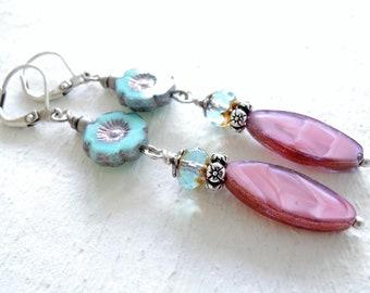 Turquoise and Roses Dangle Earrings Silver Dangle Earrings Czech Glass Flower Dangles Mothers Day Gift Garden Gift for Flower Lover