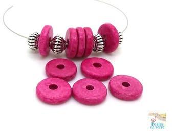 Fuchsia: 10 beads matte ceramic rondelles, 2.5x12mm, Greece (pc185)