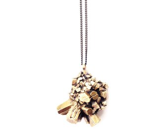 Brass Aragonite Crystal Cluster Necklace