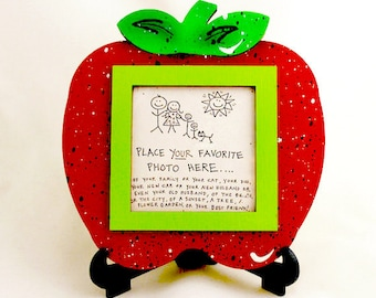 Apple Picture Frame - Hand Painted Wooden Frame