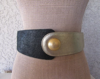1980s Black And Gold Leather Waist Belt, Wide Leather Belt, 80s, 1990s 90s Leather Belt, Fits 26 to 28 Waist