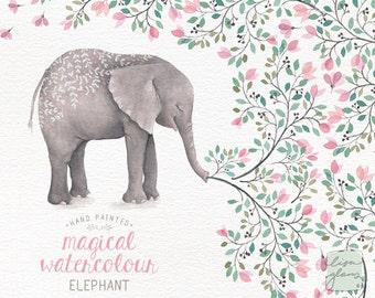 Watercolor elephant: hand painted printable wild animal clipart / nursery art / animal clip art / birthday / birth announcement / CM0084