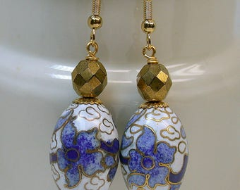 Vintage Chinese White Blue Cloisonne Oval Flower Bead Dangle Drop Earrings Oval, Vintage 1950s Faceted German Gold Glass Beads-GIFT  WRAPPED