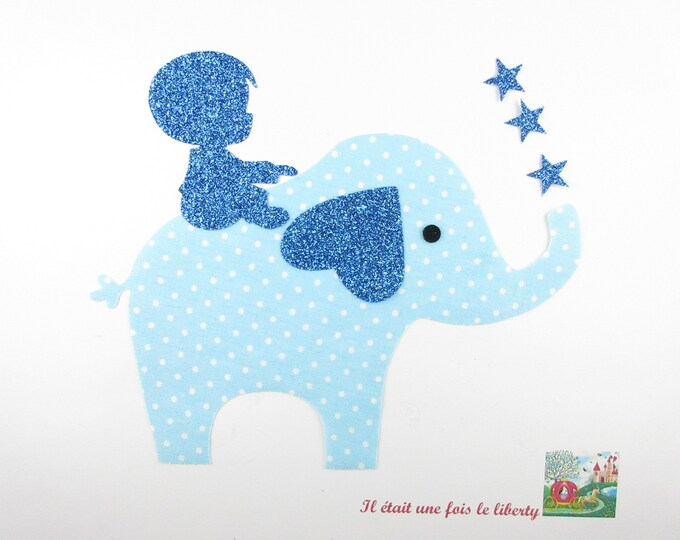 Applied shape in your little boy on the back of an elephant in polka dot blue flex glitter patch iron on applique patch
