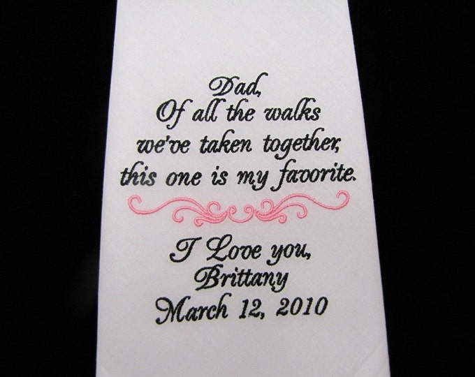 Father of the Bride Embroidered Wedding Handkerchief, Personalized Gift for Dad, Men's Custom Handkerchiefs, Bride to Dad, Parent gift