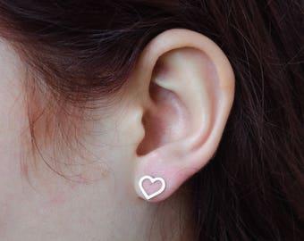 Open Heart Earrings, Heart Stud Earrings, Heart Shaped Earrings, Silver Heart Earrings, Dainty Stud Earrings,  Earrings For Her