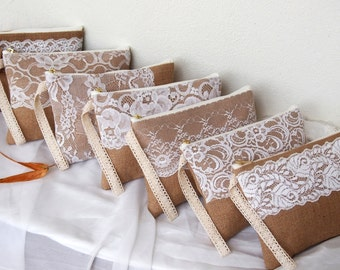 6 burlap lace purses-burlap clutch -bridesmaid clutch -wristlet -Bridesmaid Gift /set of 7-mix design