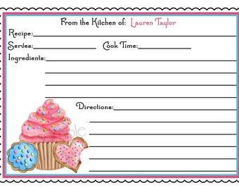 Cupcake Recipe Cards, Cupcake and Cookies, Kitchen, Baking, Cooking, Gift, Hostess, Housewarming, Birthday, set of 12
