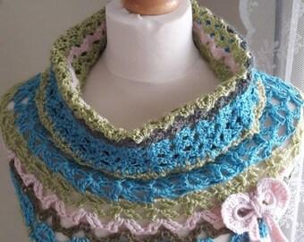 Crochet neck shoulder warmer cowl neck hand made spring summer