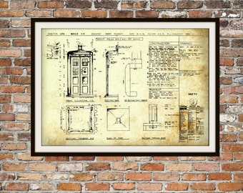 Tardis print poster dr who blueprint the tardis blueprint tardis print poster dr who blueprint the tardis blueprint art of the tardis malvernweather Choice Image