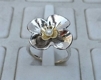 Flower Pearl Ring ,Silver And Gold Ring ,Pearl Friendship Ring ,Silver And Gold Statement Ring ,Handmade Flower Pearl Ring ,Mother's Day