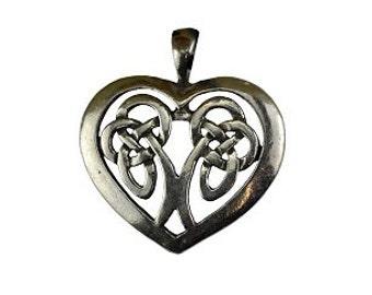 Heart Celtic Knot Pendant - Pewter, Celtic heart, Celtic jewelry, Silver heart