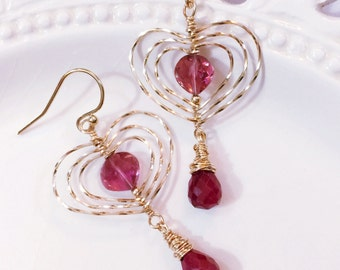 Pink Tourmaline Heart Earrings with Ruby Drops, Romantic Gift for Her, Gold Heart Earrings, Valentine Gift, Anniversary Gift, Rubellite