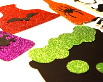 Photo Booth Props - 15 piece set - Halloween GLITTER Photobooth Props - The Spooky Collection