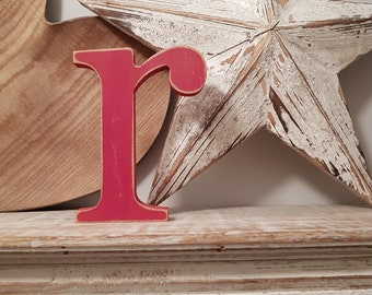 Hand-painted Wooden Letter lowercase r - Freestanding - Georgian Font - Various sizes, finishes and colours