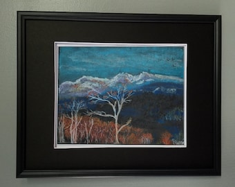 "8x10 Original Pastel Painting, Winter Landscape Artwork, ""Rolling Hills in Winter"""