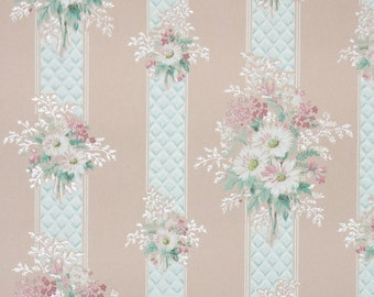1940s Vintage Wallpaper by the Yard - Floral Wallpaper with White Daisies and Pink Flowers on Blue Stripe and Pink Background, Floral Stripe