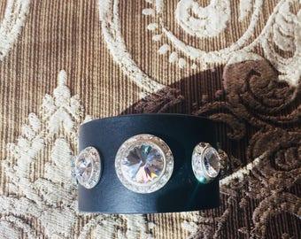 Swarovski crystal leather cuff