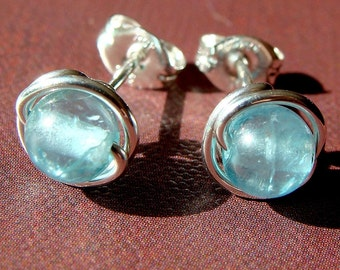 Blue Apatite Studs 7mm Post Apatite Earrings Wire Wrapped in Sterling Silver Apatite Studs