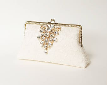 Evening Clutch / Ivory Alencon Clutch (code 2560) / Bridal Lace Clutch / Elegant Wedding Clutch / Wedding Bag / Bridal Clutch Purse