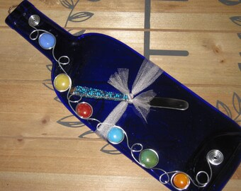 Slumped Wine Bottle Cheese Tray and Beaded Utensil, Melted Wine Bottle, Spoon Rest, Upcycled Recycled Wine Bottle with Bead and Wire Design.