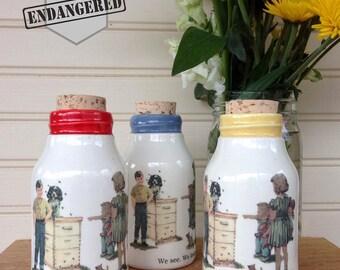 Milk Bottle decor, 1950's childhood, Milk Bottle, Dick and Jane Milk Bottle, Beekeeper Milk Bottle, Ceramic Honey Bottle, Ceramic Cork Jar