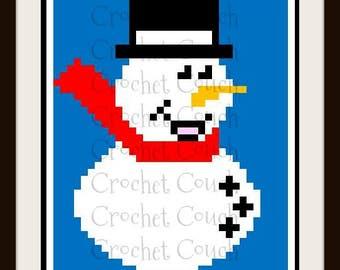 Single Snowman Square, C2C Graph, Crochet Pattern