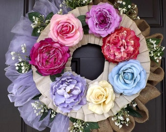 "23 ""Wonderful Unique Handmade Roses Wreath - Renata - Great Mother's Day Gift!"