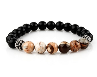 Bracelet Natural Onyx And Jasper stone Seperated With Silver Piece Wristband 925 Sterling Silver Natural Stone