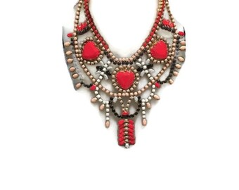 LIKE IT HOT red, pink, white, black brown hand painted rhinestone super statement necklace