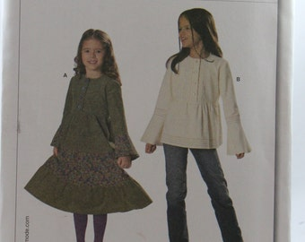 Burda 9673, Girls' Dress and Tunic Top Sewing Pattern, Girls' Tiered Dress Pattern, Girls' Tunic Pattern, Size 4 to 10, Uncut
