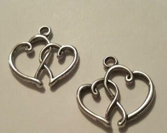 Heart Charms - 10 pcs. - Heart Pendant - Silver Heart Charm - Double Heart Charm - Antique Silver Charm - Two Sided Charm - Silver Charms