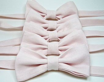 Blush Bow Ties Linen Bow Ties Pink Bow Ties Wedding Bow Ties Custom Bow Ties Freestyle Bow Ties