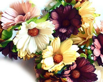5 x Beautiful Mulberry Paper Chrysanthemum Flowers -  Earth/Natural Tones 45mm