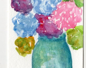 Colorful hydrangeas Blue Canning Jar watercolor painting, Original ART, ACEO