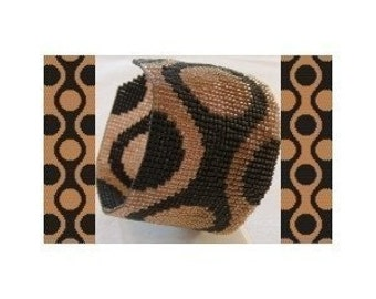 2 Loom or Odd Drop Peyote Bead Patterns - 60s Retro Cuff Bracelet - 2 Variations For The Price Of 1